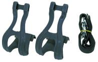 Tåclips med pedalrem svart PVC